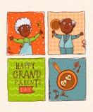 Pensionati felici dell'afroamericano delle coppie Giorno felice dei nonni Fotografia Stock Libera da Diritti