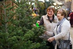 Pensionati femminili che comprano l'albero del nuovo anno alla fiera immagine stock