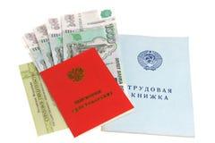 Pensiondokument och pengar fotografering för bildbyråer