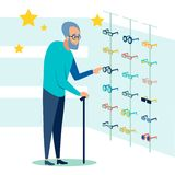 The pensioner chooses, picks up glasses for sight. Ophthalmology store. In minimalist style Cartoon flat Vector. Illustration stock illustration