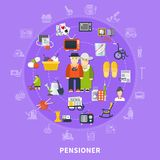 Pensioner Colored Concept. Flat pensioner colored concept with icon set combined in big circle and elderly couple in the center vector illustration Royalty Free Stock Photos
