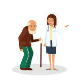 Pensioner with doctor. Old man with doctor. Care for the elderly vector illustration. Old man and young doctor woman on white background Royalty Free Stock Photography