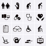 Pensioner and Elderly Care Icons royalty free stock photography