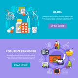 Pensioner Flat Banner Set. Two horizontal pensioner flat banner set with health leisure of pensioner descriptions and read more buttons vector illustration Royalty Free Stock Images