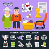 Pensioner Flat Colored Icon Set. With figures of people and their equipment vector illustration Royalty Free Stock Photo