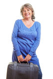 Pensioner with gray suitcase Royalty Free Stock Photography