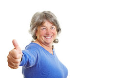 Pensioner holding thumb up Royalty Free Stock Photography