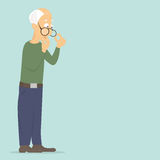 Pensioner (old man) thinks about a serious problem: lack of money, attention, communication, health Royalty Free Stock Photos