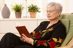 Pensioner reading in armchair Stock Image