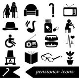 Pensioner senior citizen theme set of icons eps10. Pensioner senior citizen theme set of icons Royalty Free Stock Images