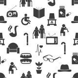 Pensioner senior citizen theme set of icons seamless pattern eps10. Pensioner senior citizen theme set of icons seamless pattern Stock Photo