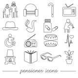 Pensioner senior citizen theme set of outline icons eps10. Pensioner senior citizen theme set of outline icons Royalty Free Stock Image
