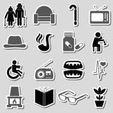 Pensioner senior citizen theme set of stickers eps10. Pensioner senior citizen theme set of stickers Stock Photo