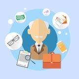 Pensioner Senior Man Bank Office Client Icon. Flat Vector Illustration Royalty Free Stock Photo