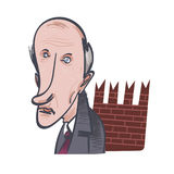 The pensioner is standing by the Kremlin wall. Vector illustration. EPS 10 Royalty Free Stock Image