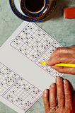 Pensioner with sudoku Royalty Free Stock Images