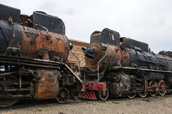 Pensionerad ångalokomotiv Royaltyfri Foto