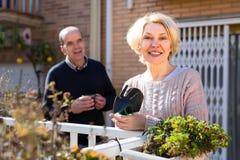 Pensionerad kvinna som arbeta i trädgården blommor Fotografering för Bildbyråer