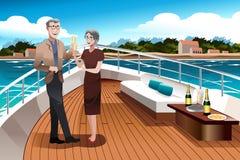 Pensionerade par på en yacht royaltyfri illustrationer