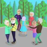 Pensionerat folk för aktiv som dansar i en parkera stock illustrationer