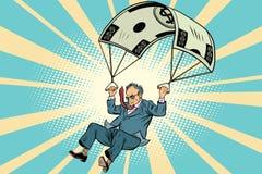 Pensionerat guld- hoppa fallskärm finansiell kompensation i affären royaltyfri illustrationer