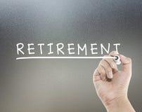 Pensioneringstekst Stock Foto's