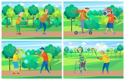 Old People in Park, Activity of Grandparent Vector. Pensioners activity, rollerblading and walking, moving on scooter, going with record player, blowing soap vector illustration