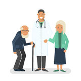 Pensioners with doctor vector illustration Royalty Free Stock Photography
