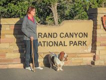 Pensioners with a dog on an evening walk in the Grand Canyon National Park. USA. Spring 2015 stock photography