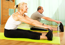 Pensioners doing exercises indoor Stock Photos