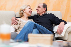 Pensioners enjoying company of each Stock Photos