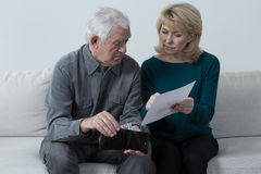 Pensioners having financial problems Stock Images