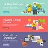 Pensioners Life Banner Set Stock Photography