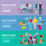 Pensioners Life Banners Set Royalty Free Stock Photo