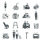 Pensioners Life Black White Icons Set Stock Photography