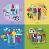 Pensioners Life Concept Icons Set Royalty Free Stock Image