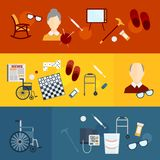 Pensioners life flat banners Stock Images