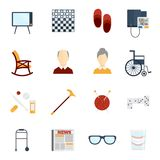 Pensioners life icons flat Stock Illustration