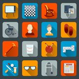 Pensioners life icons flat Stock Photos