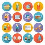 Pensioners Life Icons Flat Royalty Free Stock Image