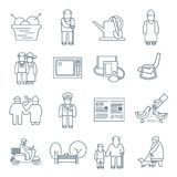 Pensioners Life Icons Stock Photography