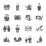 Pensioners Life Icons Set Stock Images