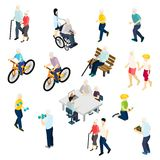 Pensioners Life Isometric Set Stock Image