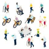 Pensioners Life Isometric Set Stock Image