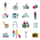 Pensioners Lifestyle Flat Icons. Pensioners lifestyle flat color icons set with knitting tv walkers tonometer wheelchair slippers newspaper  vector illustration Royalty Free Stock Photo