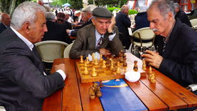 Pensioners play chess in the Park stock video
