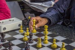 Pensioners play chess in a park 2 Stock Photos