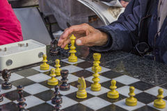 Pensioners play chess in a park 3 Stock Images