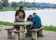 Pensioners Playing Chess, Krakow, Poland. stock photography