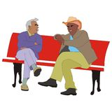 Pensioners talking Stock Image